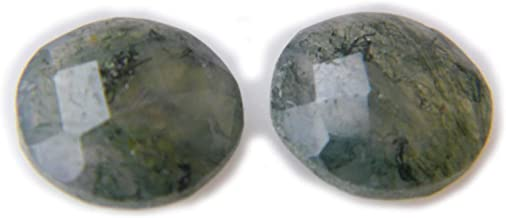 Thebestjewellery Faceted Labradorite cabochon Pair, 6Ct Natural Gemstone, Round Shape Cabochon Pair for Jewelry Making (9.5x9.5x4mm) SKU-8976