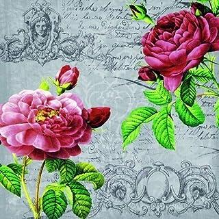 20 servetten rozen in barokstijl | Vintage | Bloemen 33x33cm