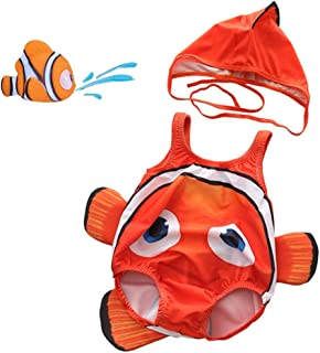 Kids Baby Boys Girls 3D Cartoon Shark One-Piece Swimsuit Bodysuit Bathing Suit with Cap and Squirt Water Toy