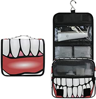 Hanging Toiletry Bag Tooth Clip Art Large Capacity Travel Bag for Women and Men - Toiletry Kit, Cosmetic Bag, Makeup Bag - Travel Accessories