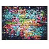 BDDFOTO 2 * 1,5m Fotografie Hintergrund Digital Gedruckt Bunte Doodle Scribble Backsteinmauer Muster für Kinder Kinder Baby Neugeborenen Porträt Studio Fotografie
