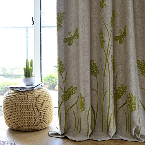 Melodieux Wheat Embroidery Linen Blackout Curtain for Patio Sliding Door Living Room Darkening Grommet Wide Drape, Beige/Green, 100 by 84 Inch (1 Panel)