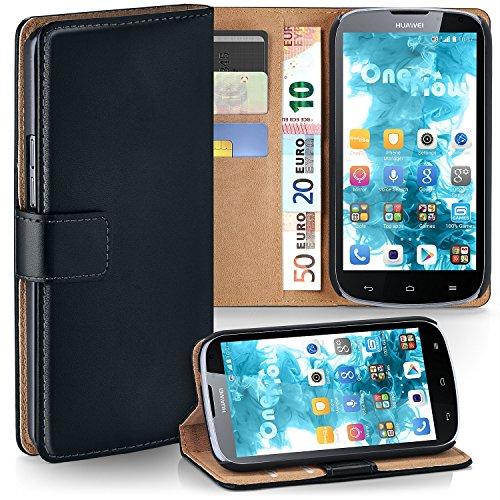 MoEx Premium Book-Hülle Handytasche kompatibel mit Huawei G610 | Handyhülle mit Kartenfach & Ständer - 360 Grad Schutz Handy Tasche, Schwarz