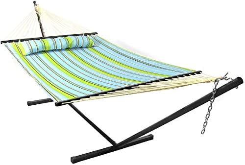 discount SHZOND Blue & Green Quilted Double Fabric Hammock with Bars online Pillow and high quality Stand outlet sale