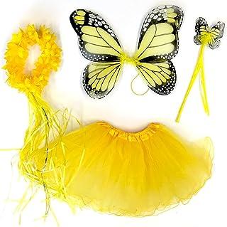 Tante Tina Costume da Farfalla per Bambina - Vestito Farfalla da Bimba in 4 Pezzi: Gonna in Tulle, Ali, Bacchetta e Cerchi...