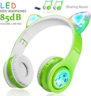WOICE Wireless Bluetooth Kids Headphones, LED Flashing Lights, Music Sharing Function, 85db Volume Limited, Over-Ear and Build-in Mic Wireless/Wired Children Headphones for Boys Girls Green W01
