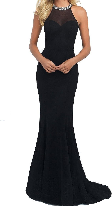 JudyBridal Women Spandex Prom Dresses Scoop Mermaid Beading Evening Dress