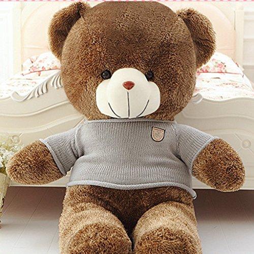 VERCART Grand Nounours Ours en Peluche XXL Teddy Bear Jouet Oursons Douce Cadeaux pour Bébé Enfant Ado Fille Garçon Marron Foncé 80cm