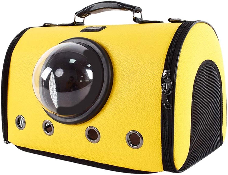 LJ Cat And Dog Out Handbags Convenient Chest Package Space Transparent Cabin Ventilation Cat Bag Pet Bag Comfortable (color   Yellow)