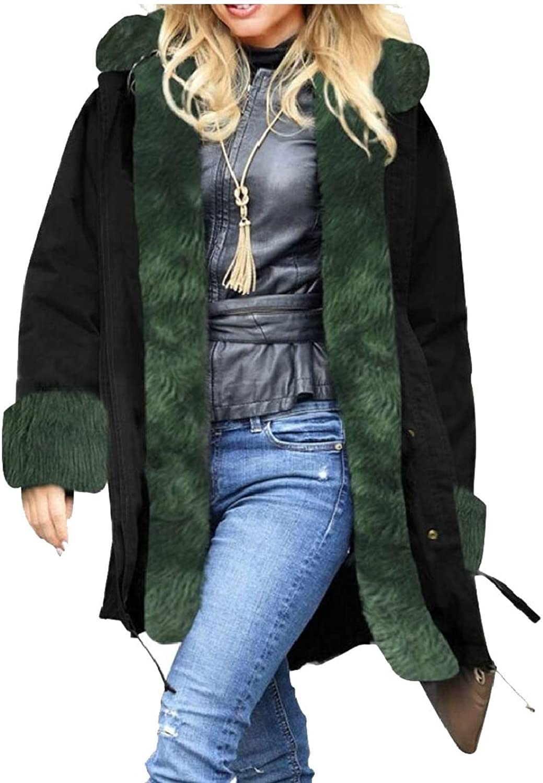 Jxfd Women's Winter Thicken Faux Fur Hooded Plus Size Parka Jacket Coats
