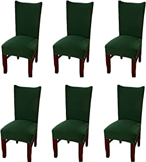 FLYPARTY 6X Universal Stretch Spandex Removable Washable Short Dining Chair Cover Protector Seat Solid Slipcovers for Hotel,Dining Room,Ceremony,Wedding etc ( Atrovirens)