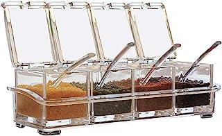 RXING Pots à épices Lot de 4 Compartiments à épices en Acrylique avec 4 cuillères à Servir Assaisonnement Box Set