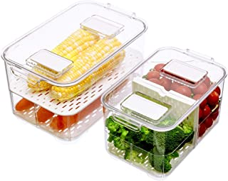 SANNO Fridge Food Storage Vegetable Fruit Containers Produce Saver Container Stackable Refrigerator Freezer Organizer Fres...