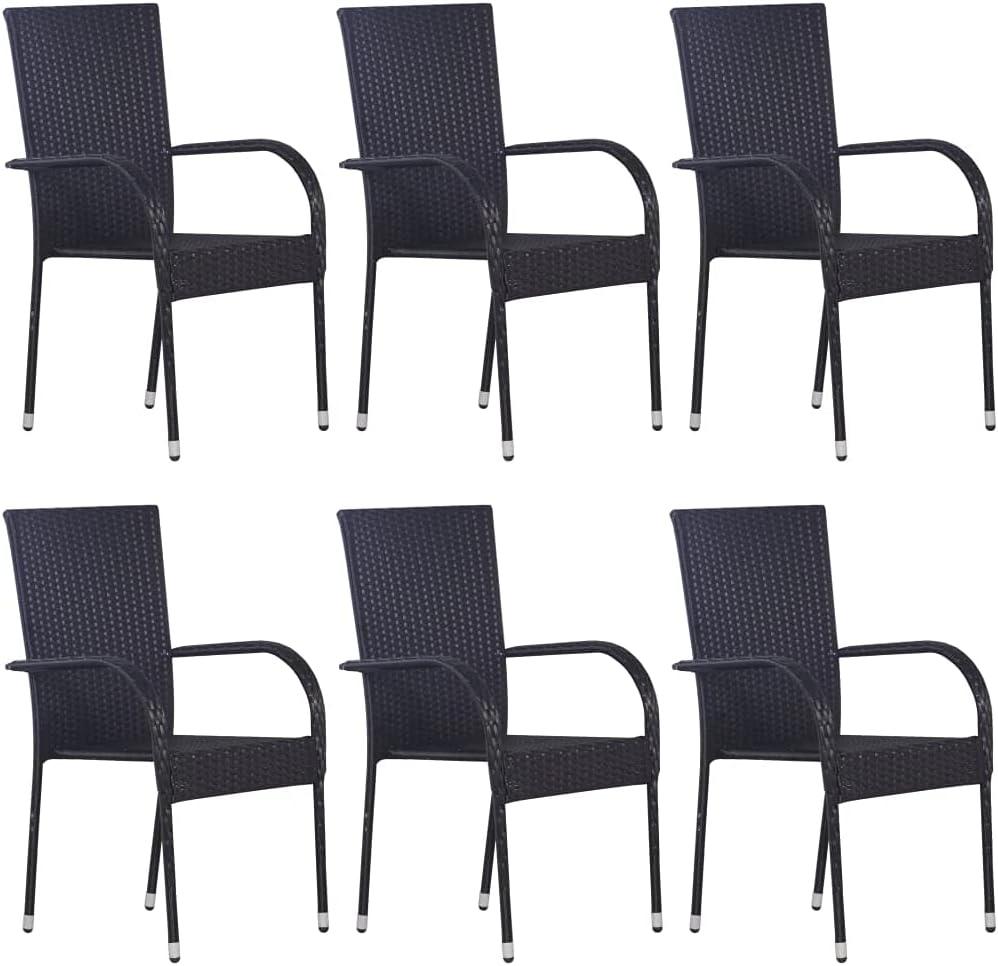 vidaXL 6X Sillas de Jardín Apilables Asiento Mobiliario Muebles Cocina Hogar Restaurante Comedor Exterior con Respaldo Ratán Sintético Negro