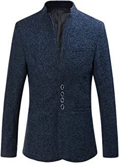 Zhiyuanan Mens Plus Size Casual Blazer Jacket Standing Collar Single-Breasted Slim Fit Suit Soft Elegant Business Gents Su...