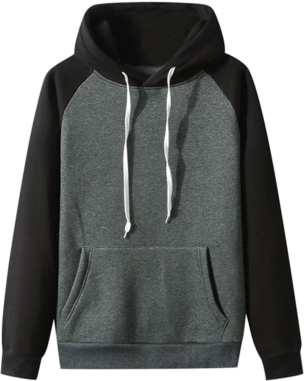 Huangse Men's Autumn Slim Fit Hooded Sweatshirt Casual Patchwork Pullover with Hood Long Sleeve Sweatershirts Track Tops