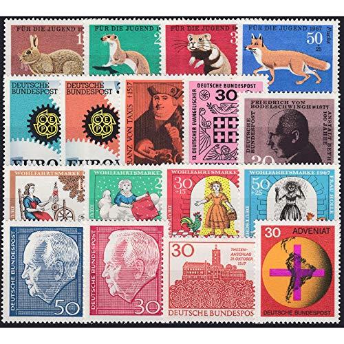 Goldhahn BRD Bund Jahrgang 1967 postfrisch ** MNH komplett Briefmarken für Sammler
