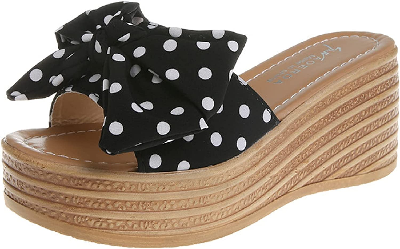Platform Sandal Outdoor Rest Fashion Polka Dot Bowknot Non-Skid Open Toe Wedge Slides Slippers for Women's