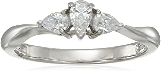 Platinum-Plated Sterling Silver Pear-Shape 3-Stone Ring made with Swarovski Zirconia