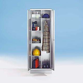 Armoire en inox - armoire à linge - 4 tablettes, 1 tablette supérieure, tringle avec 3 patères - Armoire de bureau Armoire...