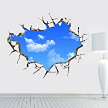 GlobalDeal 3D Hole View Cracked Wall Stickers Art Decals Mural Wallpaper Decor Home Decal Sticker for Wall and Ceiling Home Decor (Blue Sky)