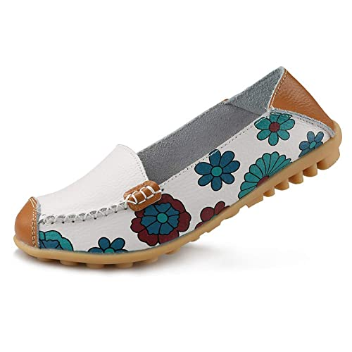 f40d49767fb Ablanczoom Womens Cowhide Floral Print Flat Casual Slip on Driving Loafer  Shoes