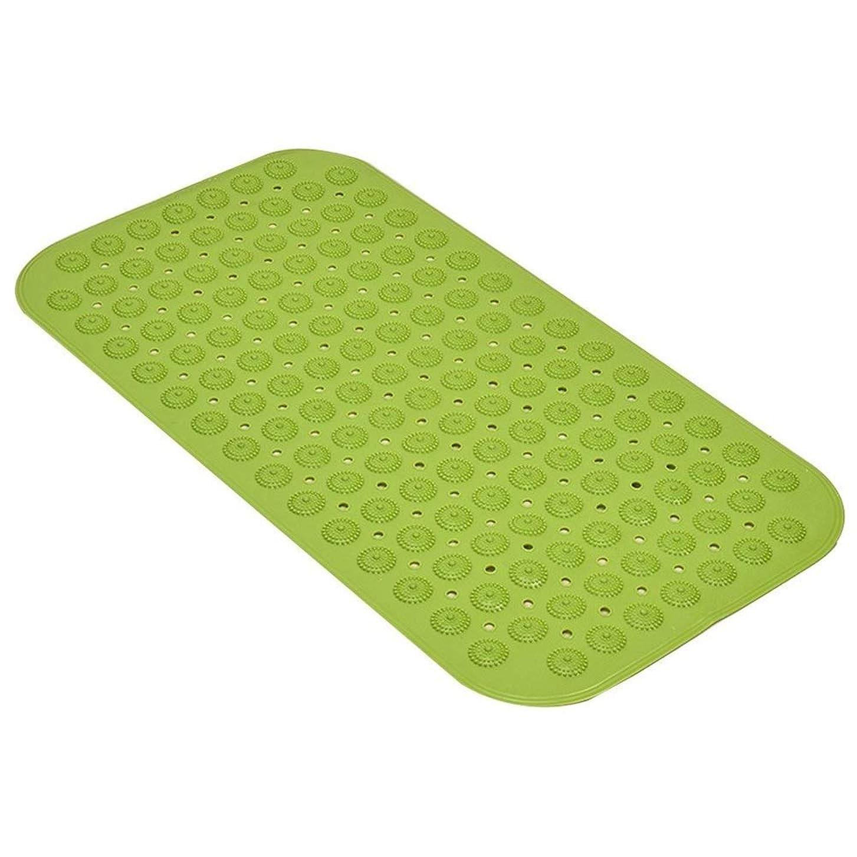 リベラル論理解き明かすGYYARSX バスルームマット浴室足ふきマット風呂ホーム柔らかいマッサージ吸盤排水穴PVC、3色2サイズ (Color : Green, Size : 71X36CM)