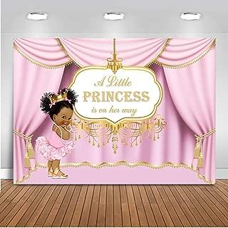 Mocsicka Royal Pink Princess Backdrop Royal Curtain Baby Shower Photography Background 7x5ft Vinyl Princess Baby Shower Banner Backdrops