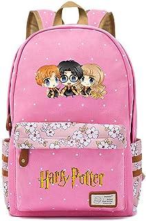 Mochila Avatar de Harry Potter,Joven Estudiante Bolsa para la Escuela, niña Flores Backpack Bolsa para portátil Unisexo (Estilo A) L Rosa