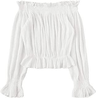 Floerns Women's Off Shoulder Long Sleeve Crop Top Blouse