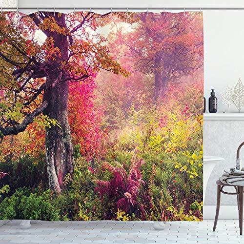 ABAKUHAUS Wald Duschvorhang, Majestic Herbst-Bäume, Digital auf Stoff Bedruckt inkl.12 Haken Farbfest Wasser Bakterie Resistent, 175 x 200 cm, Rot-grün-Braun
