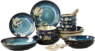 Miyabitors Ménage Vaisselle, Cuisine 20 Pièces Arts De La Table Bleue Set, Assiettes, Plats, Bols, Disponible For 4 Person...