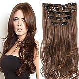 22'Full Clip tete dans les extensions de cheveux Ombre Wavy Curly Dip Dye 7 Pcs brun...