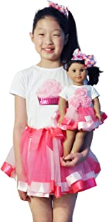 ZITA ELEMENT 2 Sets Clothes and Hair Accessories for American 18 Inch Girl Doll Matching Girls Outfits - 2 Cotton Shirt, 2 Tutu and 2 Hair Clips