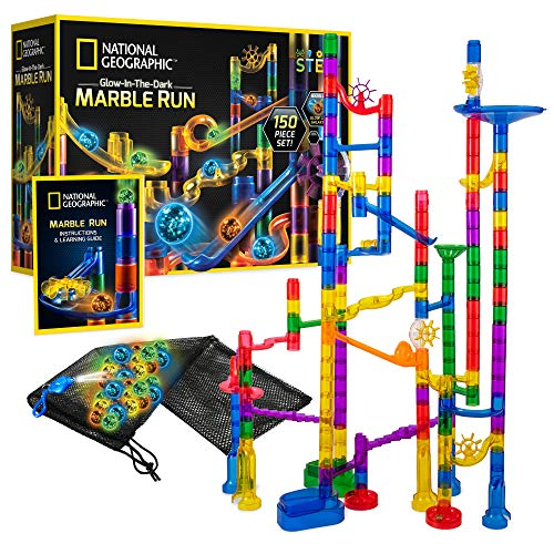 NATIONAL GEOGRAPHIC Glowing Marble Run – 150 Piece Construction Set with 50 Glow-in-the-Dark Glass Marbles, Mesh Storage Bag, Great Creative STEM Toy for Girls and Boys