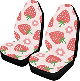 INTERESTPRINT Seamless Strawberry Illustration Car Seat Covers Set of 2 Protectors Auto Accessories