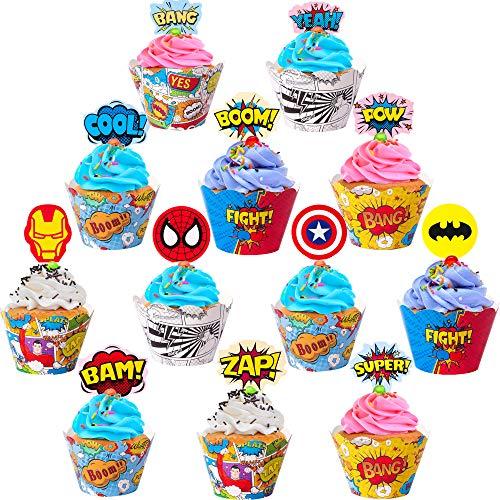 FabTab Superhelden Cupcake Topper und Wrapper 24 Stück Superhelden Party Zubehör für Jungen und Kinder Geburtstagsfeiern