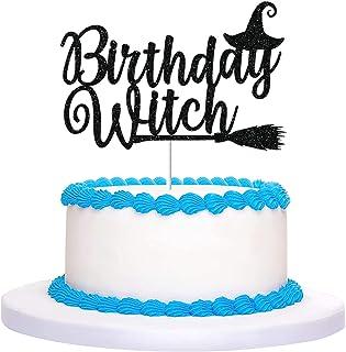Sponsored Ad - CAVLA Black Glittery Birthday Witch Cake Topper Halloween Witch Cake Topper Halloween Birthday Decorations ...