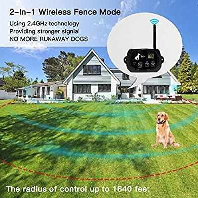 NACRL Wireless Dog Fence, Pet Containment System, Up to 1640 Feet Control Range, Waterproof, Adjustable & Rechargeable 2-in-1 Set, Outdoor Electric Fence for Dogs, Black