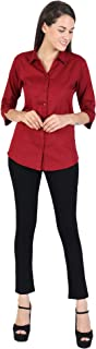 SHAURYA-F Shirt Collar Styled Pure Cotton Straight Slim Fit Shirt with Curved Apple Cut Hem & Free Belt.