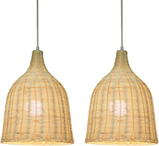 KIRIN Bamboo Rattan Weave Hanging Lamp E26 Pendant Light Nordic Chandelier for Kitchen Bedroom Living Room Restaurant Hotel Fixture 2 Pack (11