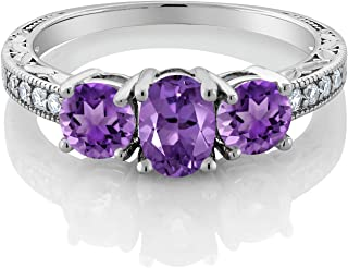 925 Sterling Silver Purple Amethyst Women's 3-Stone Ring 1.77 Ct Oval Gemstone Birthstone (Available 5,6,7,8,9)