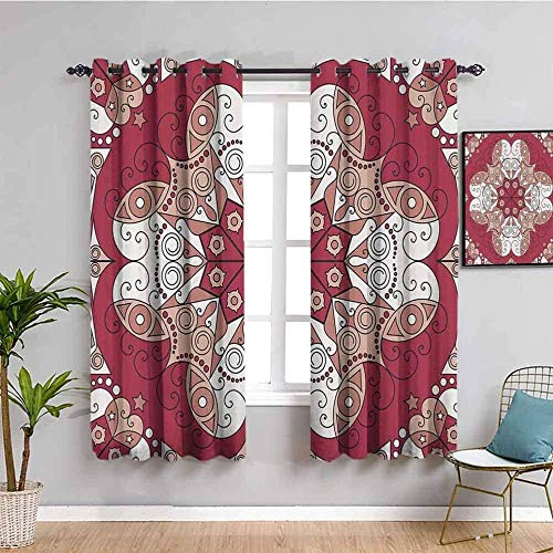 QFAZO 3D Children'S Room Draperies - Retro Red Art American 264X183Cm Window Treatments Thermal Insulated Blackout Curtains Energy Saving Super Soft Eyelet Curtains