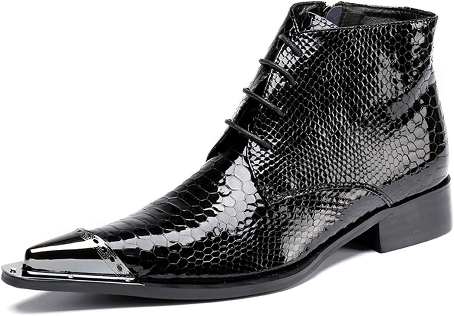 Mens Western Cowboy Boots Leather shoes Lace up Ankle Boots Pointed Toe Black Classic Smart Wedding Evening Party