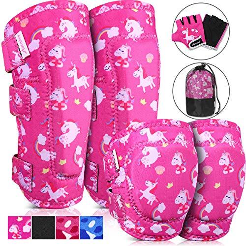 MOVTOTOP Knieschoner, Knieschützer für Kinder, Kinder Knie- und Ellbogenschützer mit Handschuhen - Verstärkte Nähte, Kleinkind-Sportschutzausrüstung mit Netztasche für KinderMittel (BB, 4-8 Jährigen)