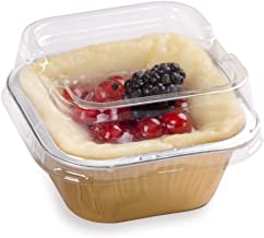 Premium 3.4-OZ Baking Cups with Lids - Square Foil Baking Cups & Lids Perfect for Fancy Desserts or Mini Snacks - Gold Cup...