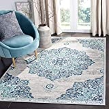 Safavieh Brentwood Collection BNT849M Medallion Distressed Area Rug, 5'3' x 7'6', Navy / Light Grey