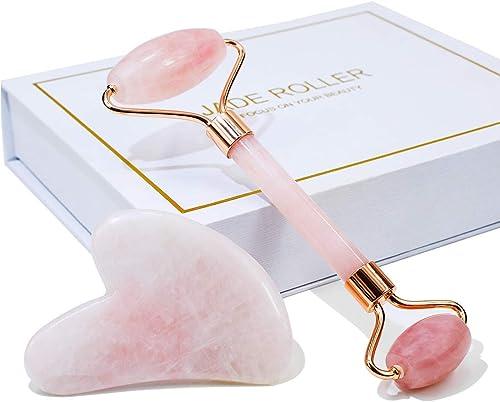 Jade Roller & Gua Sha Set, ZC Face Roller, Facial Beauty Roller Skin Care Tools, Rose Quartz Massager for Face, Eyes,...