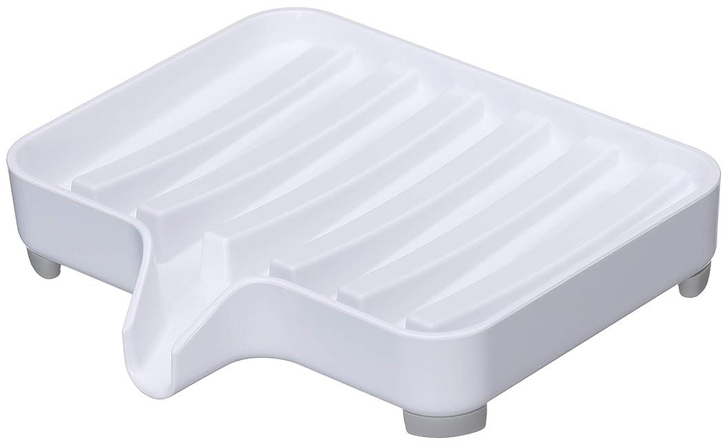 差別化する泣いているダンプ山崎実業 石鹸置き 水が流れる ソープトレー ミスト ホワイト 3249