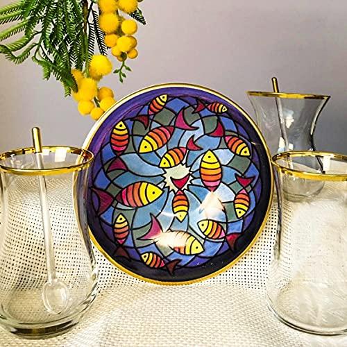 12 piezas de pescado figurado té para 6 personas, impresión dibujo platos de té, gafas doradas, gafas de paşabahçe